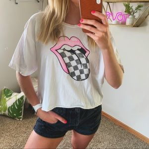 Rolling Stones Neon Pink Checkered Tongue Band Tee